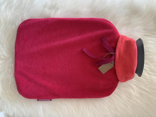 012b. Wärmflasche mit kuscheligem Nicki in preiselbeere - Hülle bei 30 Grad waschbar