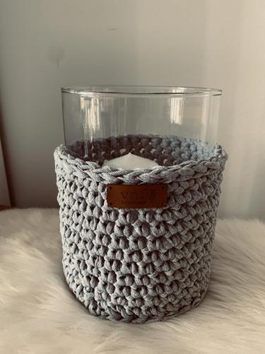 0001. Windlicht / Vase, 20 cm hoch, incl. Stumpenkerze